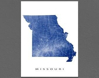 Missouri Map, Missouri State Outline Maps, MO Art Print, USA