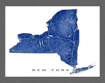 New York Map, New York State Art Print, USA State Outline Maps