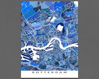 Rotterdam Map Print, Rotterdam the Netherlands, Holland, Europe Maps