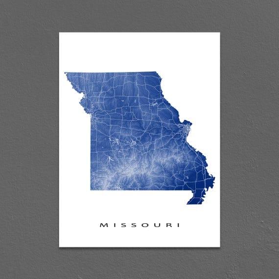 Missouri Map Missouri State Outline Maps MO Art Print USA