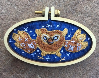 Hand 'broidered Cosmic Owl