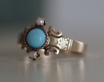 Antique Victorian c.1890s 14K Gold Turquoise & Seed Pearl Ring