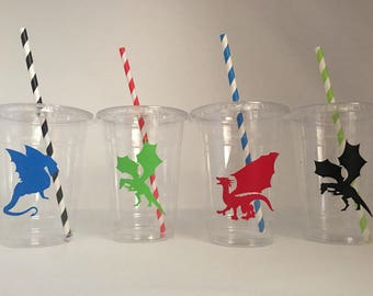 Dragon party cups, Dragon Birthday Party Cups, Knight Party Cups, Knight Birthday Party Cups, Dragon Party favors