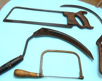 Halloween display -Old sickle-old scythe-old farm tool-antique tool bundle-old saw-vintage tool lot-primitive tools-halloween grim reaper