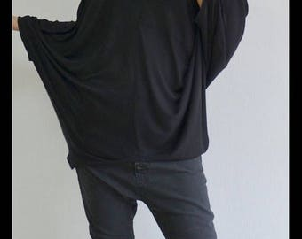 ON SALE Oversized black top/Extravagant black tunic /Casual loose blouse