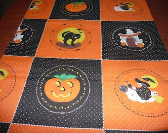 Happy Halloween, Trick Or Treat, Boo! Cotton Fabric 1 1/8 Yards