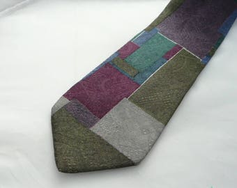Vintage Silk 100% Necktie,Suprematic pattern silk tie, designer tie,Man exquisite necktie