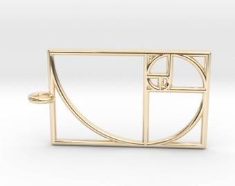 Small Rectangular Golden Spiral Pendant