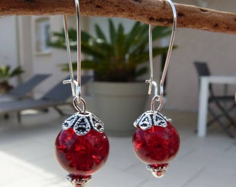 Earrings silver with red Crackle glass beads