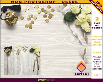 Desktop Styling | 2 Styled JPG Scenes | Non-Photoshop | Wood Table Perfume | Yellow Roses Gold Confetti Ribbons | Blank Empty wall