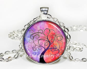 Tree of Life Glass Pendant Necklace with Chain - Pink/Purple Sunset- Mother's Day Gift, Friend Gift, birthday gift, Easter Gift,