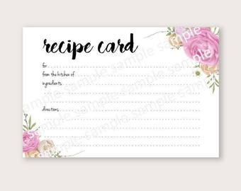 Printable watercolor floral bridal shower recipe card