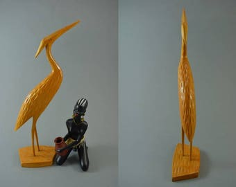 Vintage wooden crane bird sculptur figurine, Mid Century Design, popular design object of the 60s