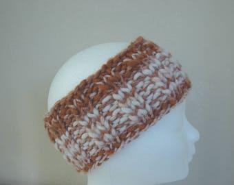 Hand knit ear warmer golden brown white teen warm comfortable winter chunky headband thick thin woolen acrylic effect yarn teen headband