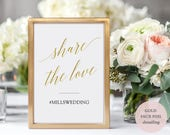 Gold Wedding Hashtag Sign Printable - Social Media Snapchat and Instagram Gold sign - Editable PDF-Instant Download - 8x10 and 5x7 - #GD3403
