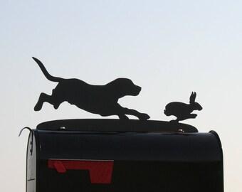 Beagle Chasing Rabbit Mailbox Topper, Metal Dog Mailbox Topper, Hunting Dog Mailbox, Hunter Mailbox Topper, Beagle Rabbit Chase, Beagle