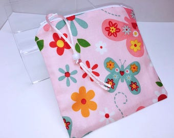 Waterproof Pouch, Pink Reusable Bag, Zipper Wet Bag, Quick Dry Design, Reusable Feminine Products, Pacifier Pouch, PUL Lining