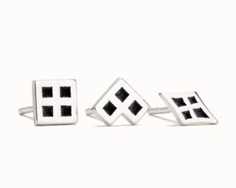 Stud Earrings Silver Tiny Minimalist Sterling Silver Earrings Geometric Jewelry - CST007
