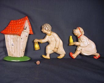 Plaster Chalk Wall Hanging * Vintage Old Collectible * Rustic Outhouse Run * Novelty