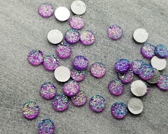 ab purple pink 6mm titanium faux druzy Cabochons 10pcs