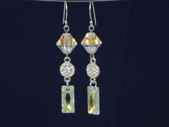 Party Lights Crystal AB Earrings, Sterling Silver