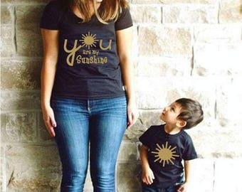 Mom and son matching you are my sunshine  MOMMY and me  Dad son matching shirts   Mon and Son   bff kids   Famil T-shirts friends forever