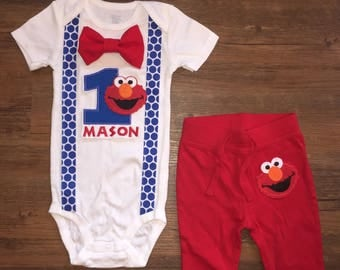 Elmo Birthday Outfit with Suspenders, Bowtie & Pants
