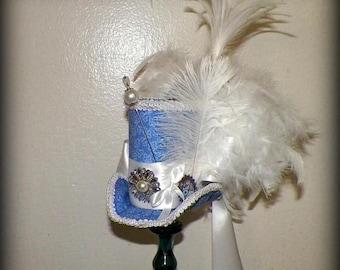 On Sale- Fasinator Blue Mini Top Hat Tea Party White Steampunk Headdress Cosplay Costume Wonderland