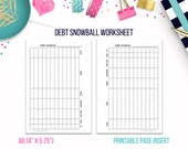 A6: Debt Snowball Worksheet • Budget Binder Printable Page Insert for A6 sized Discbound or Ringbound Agendas, Organizers or Planners