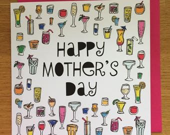 mother's day Card - mom, mum cards, Mother's Day, cocktails