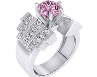 Pink Sapphire & Diamond 2.80ct Round Cut Staircase Empire Engagement Wedding Ring In 14K Gold