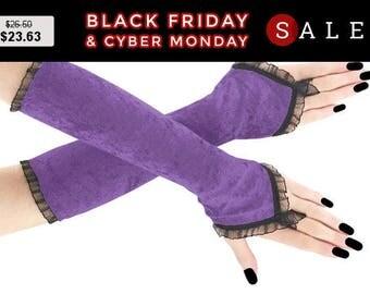 Lilac black long fingerless gloves, velvet arm warmers gothic burlesque vintage bohemian, womens evening gloves, goth wedding lolita 19R
