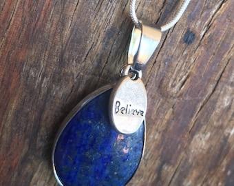BELIEVE Lapis Pear Shape Pendant Necklace