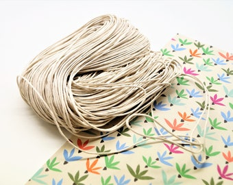 Set of 2 meters ivory, beige waxed cotton cord 1 mm
