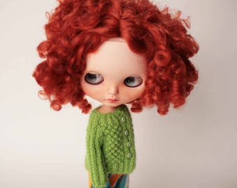 Green blythe cardigan, Hand knitted sweater for Blythe, Green Doll clothes, Green blythe outfit, Green doll pullover, Cozy wool doll wear