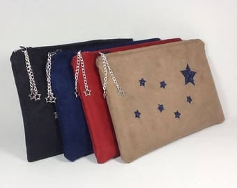 Flat clutch in suede color and glitter stars