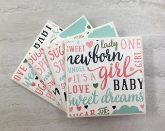 Baby Girl Gift, Baby Shower Gift, Baby Decor, Baby Girl Decor, Nursery Decor, Nursery, Baby Shower, Tile Coasters, Baby, Mom Gift, Coasters