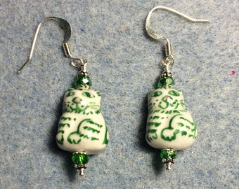 Green striped ceramic tabby cat dangle earrings adorned with green Chinese crystal beads.