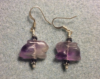 Genuine amethyst gemstone rabbit fetish bead earrings adorned with purple Chinese crystal beads.