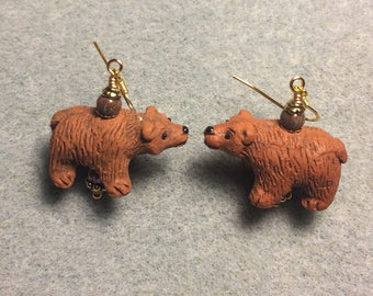 Brown ceramic bear bead earrings adorned with brown Czech glass beads.