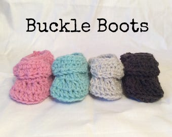 Crocheted Baby Buckle Boots