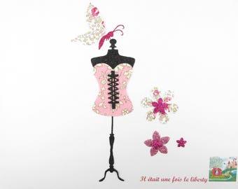 Appliqués thermocollants Bustier corset tissu liberty Capel Eloïse roses flex pailleté patch à repasser motif lingerie applique liberty