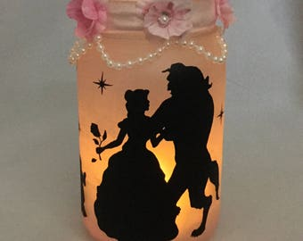 Beauty and the Beast Mason Jar Lantern - Beauty and the Beast Luminaire - Flameless Votive Holder - Mason Jar Nightlight