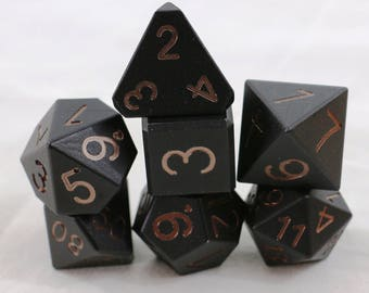 Zucati Dice Spectrum™ - 7pc set with case - Black with Coffee Numbers (P)