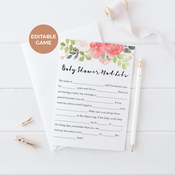Baby Shower Mad Libs Editable Template, Mad Libs Template, Floral ...