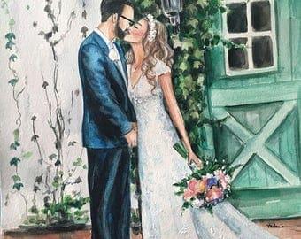 Custom wedding portrait from photo, bride watercolor realistic portrait, personalized weddeing art, commission portrait