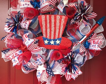 4th of July wreath, Patriotic wreath, red white and blue wreath, Uncle Sam wreath, Stars and Stripes, Deco mesh wreath, flag wreath