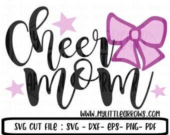 Cheer mom svg - cheer mom iron on - cheer mom dxf - cheer mom shirt - bow svg - cheerleading png - cheer mom pdf - cheer printable - svg