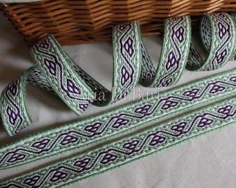 Tablet woven trim, Bertille de Chelles pattern, tablet weaving, viking medieval, reenactment, sca, larp, 100% cotton