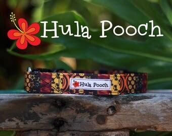 "Halloween Dog Collar ""Patchwork Brown"" - Small, Medium, Large Adjustable // FREE SHIPPING"